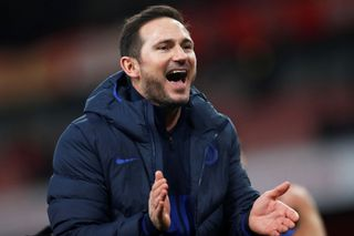 Soccer Football - Premier League - Arsenal v Chelsea - Emirates Stadium, London, Britain - December 29, 2019 Chelsea manager Frank Lampard celebrates after the match  Act